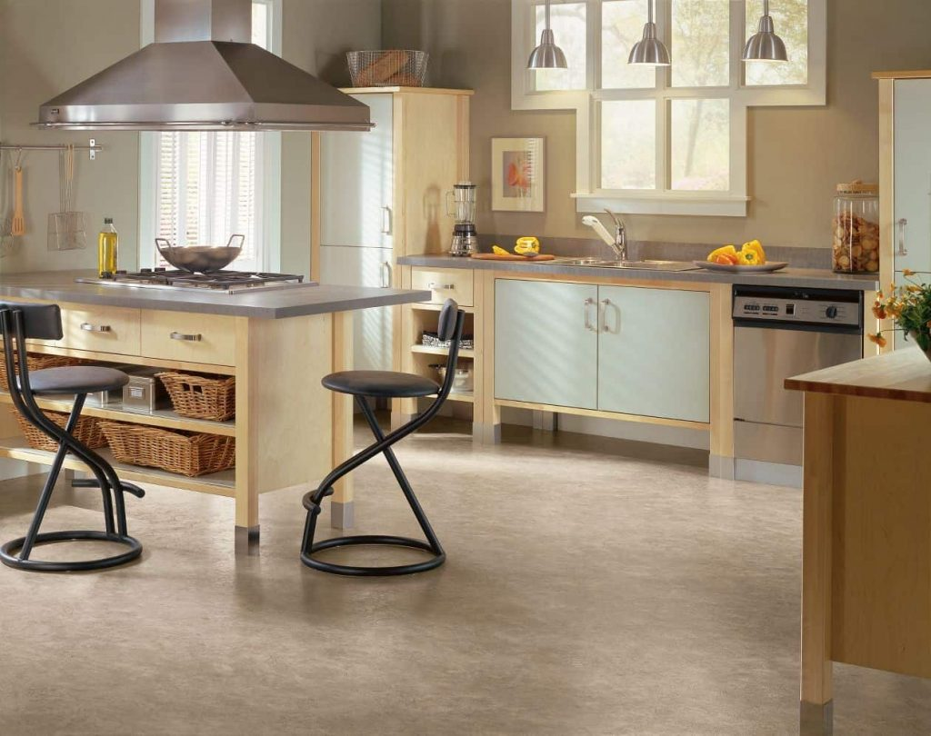 Vinyl flooring is a durable option for high traffic areas.