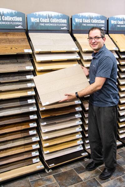 Nufloors Fernie Team Member With West Coast Collection Fine Hardwood Flooring Samples