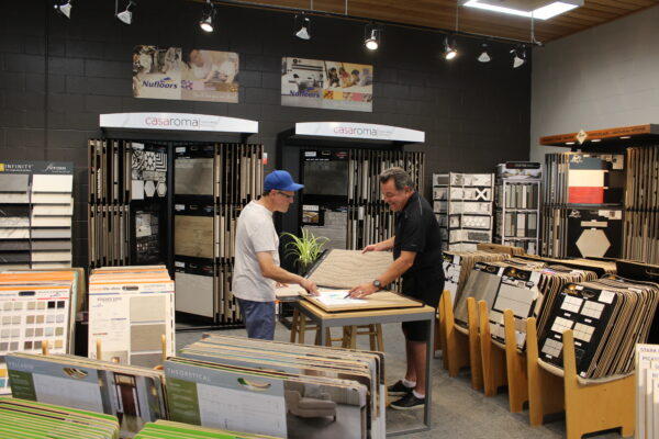 Doug Cannell Helping a Customer at Nufloors Salmon Arm