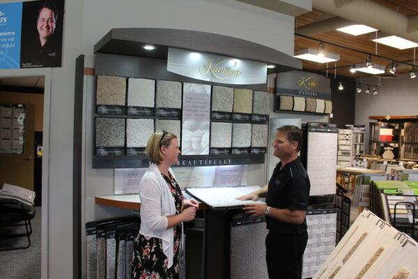 Joe Deziel with a Customer at Nufloors Salmon Arm