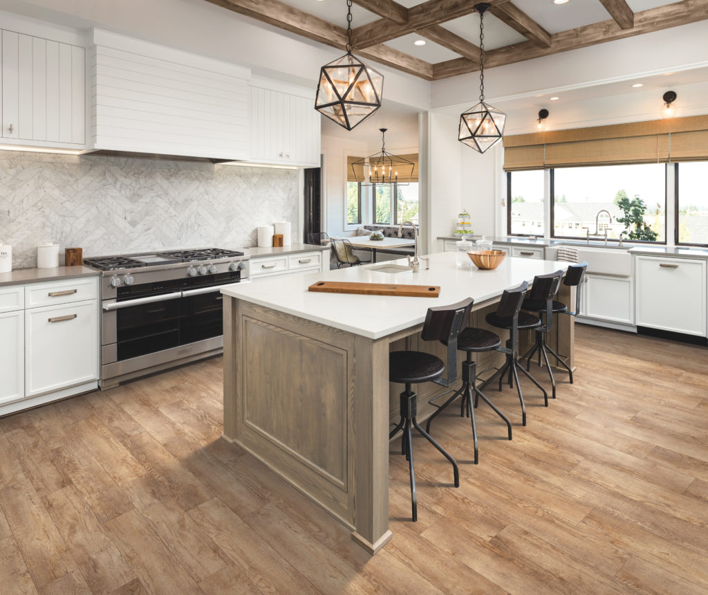 modern farmhouse kitchen with luxury vinyl flooring