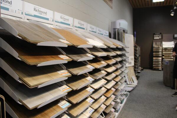 Nufloors Salmon Arm Store Interior with Vinyl Flooring Samples