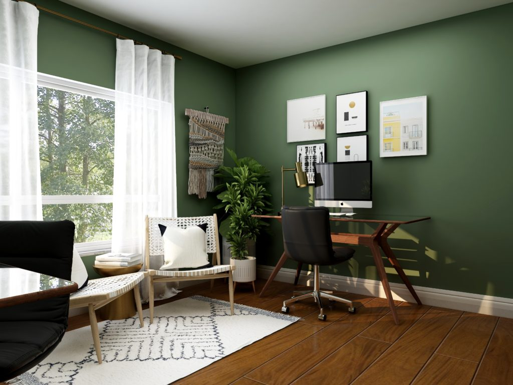 beautiful home office with green walls